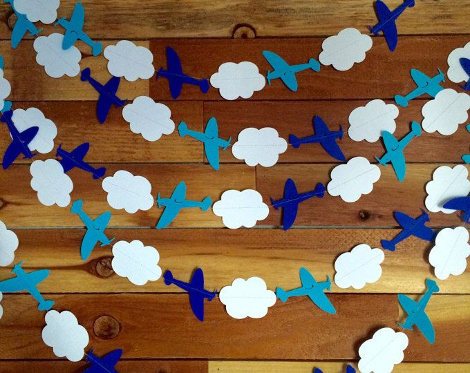 Airplane Cloud Garland // Rainbow Birthday Decor // Airplane Banner // 1st Birthday Decoration // Aviation Theme