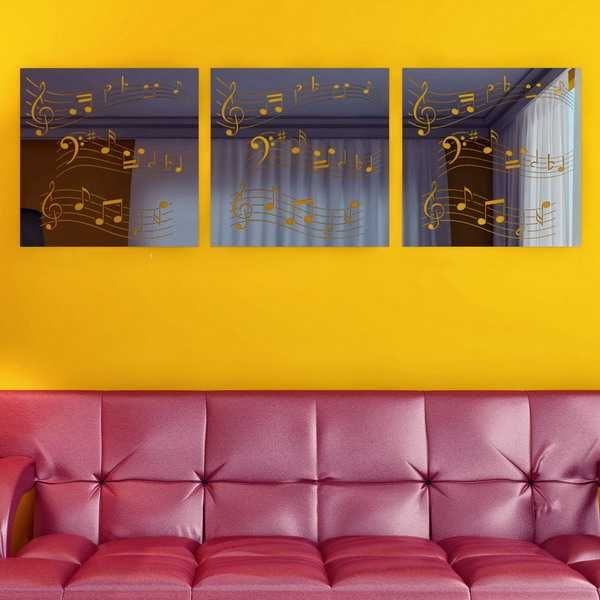 decorative wall mirrors on yellow wall