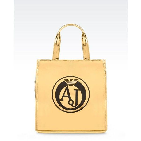 Armani Jeans Tote Bag With Laminated Effect ($110) ❤ liked on Polyvore featuring bags, handbags, tote bags, gold, handbags tote bags, armani jeans purse, gold handbags, gold tote handbags and beige handbags