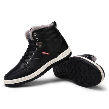 Large Size Men Waterproof High Top Plush Lining Snow Ankle Boots