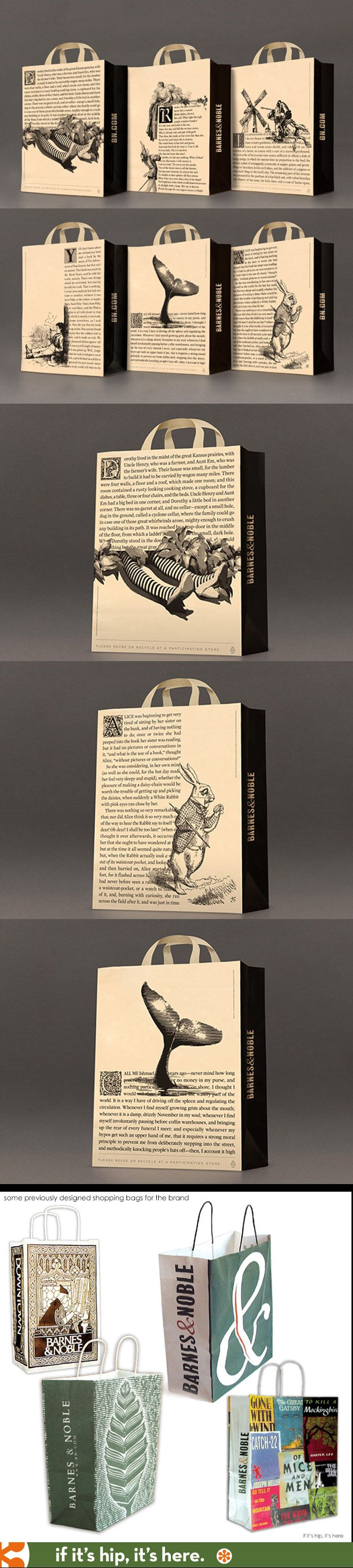 New packaging for Barnes & Noble focuses on the first page of classic books combined with character illustrations. Let's all read something PD