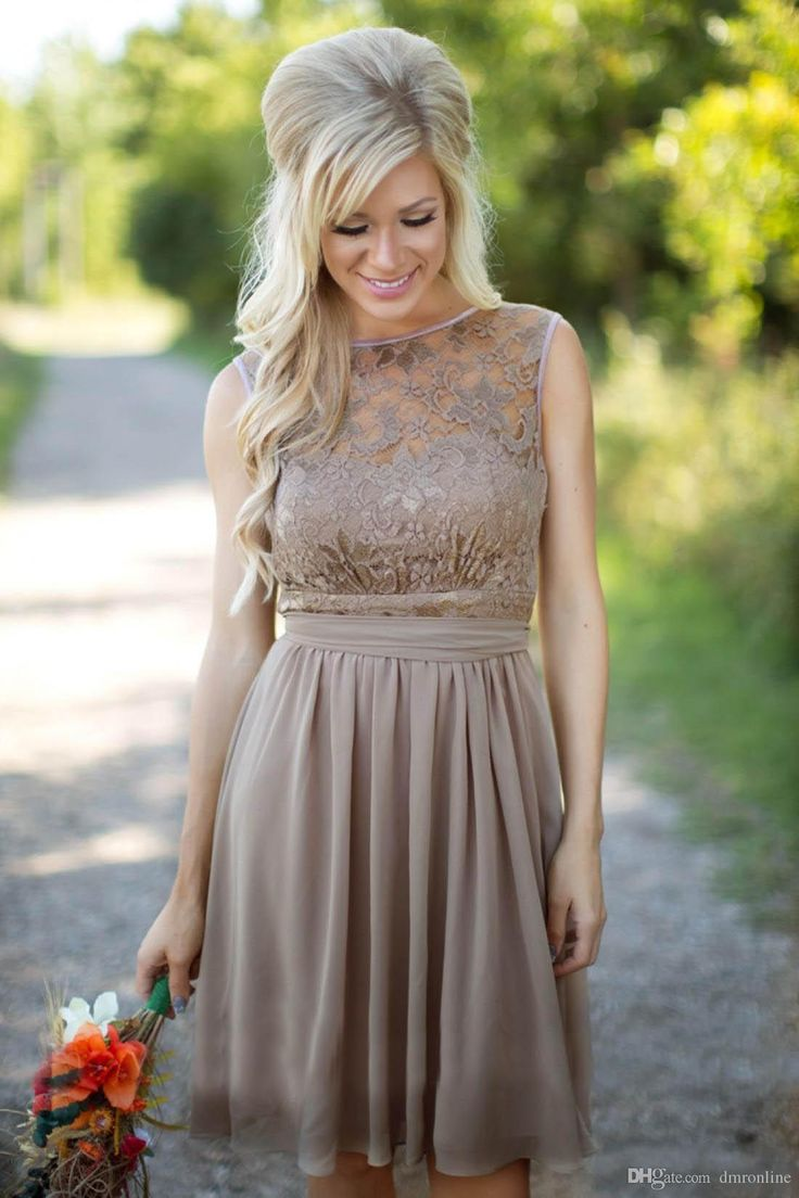 Country Style Brown Short Bridesmaid Dresses Bateau Zipper Up Knee Length Lace Chiffon Maid Of Honor Dresses Party Cocktail Gowns Casual Bridesmaid Dresses Fall Bridesmaid Dresses From Dmronline, $68.75  Dhgate.Com