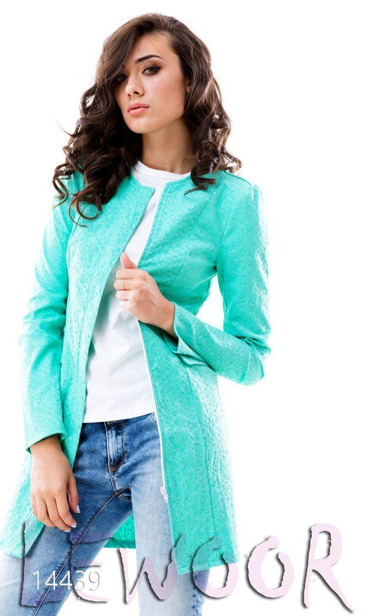 Жаккардовый удлинённый пиджак без застёжек - купить оптом и в розницу, интернет-магазин женской одежды lewoor.com