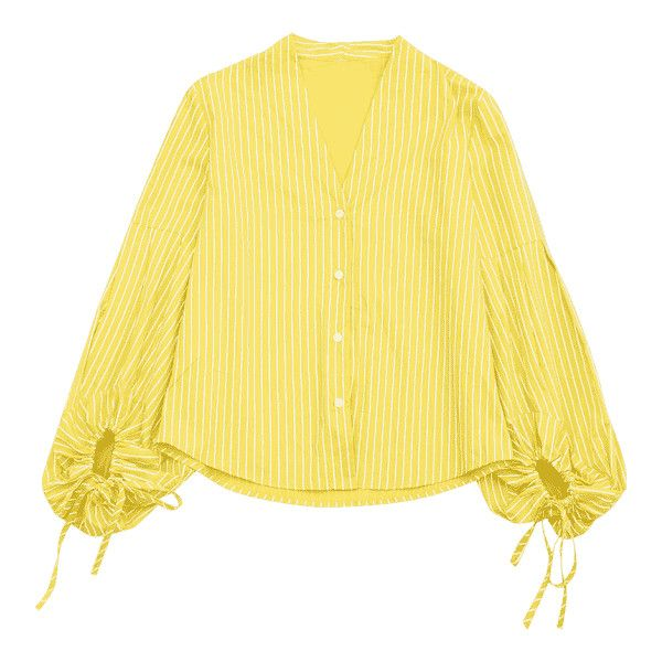 Drawstring Sleeve Button Up Striped Blouse (£17) ❤ liked on Polyvore featuring tops, blouses, yellow top, stripe blouse, stripe top, button up top and striped blouse