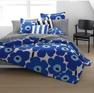 marimekko unikko true blue duvet cover and comforter sets http - Marimekko Bedding