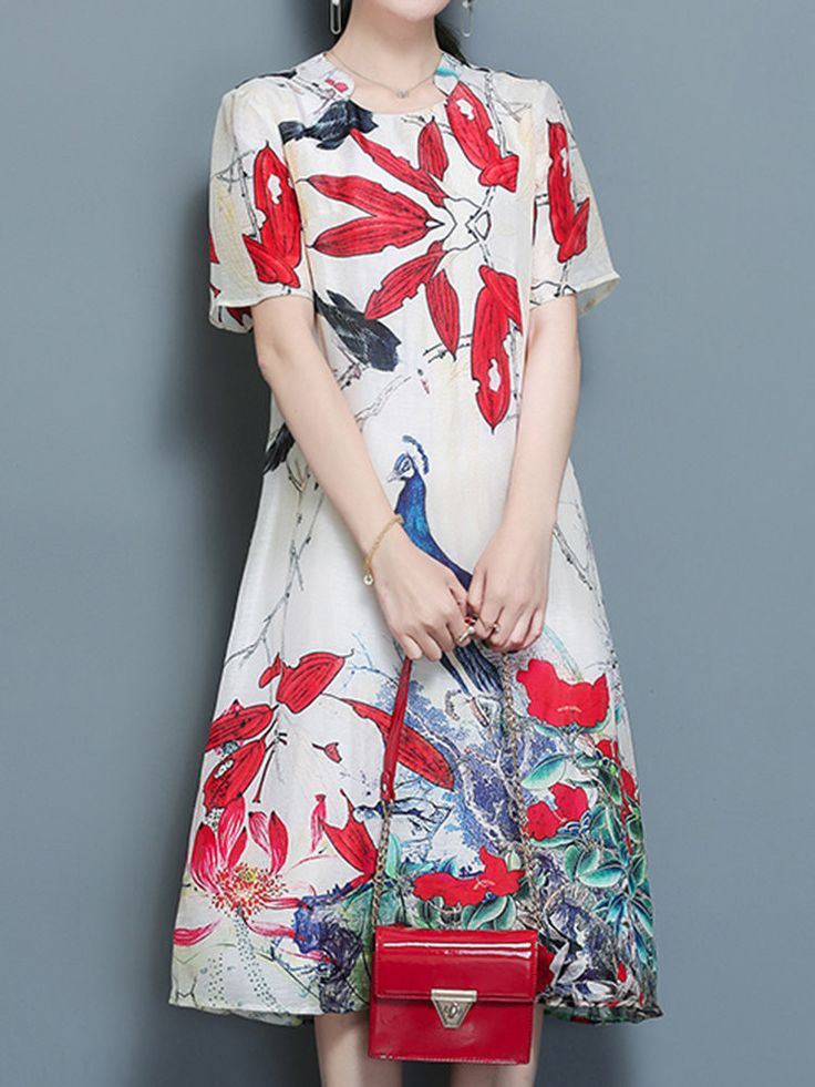 Print Short Sleeve Loose Hem Zipper A Line Women Dresses