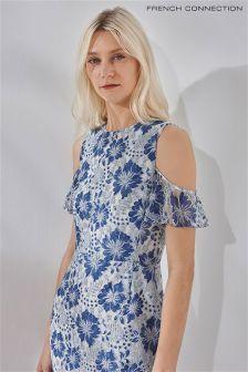 Синее кружевное платье с открытыми плечами French Connection Antonia