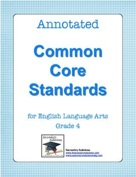 {FREE} Are you confused or overwhelmed by the Common Core Standards for English Language Arts? You're not alone. I have taken some time to annotate (explain, simplify) the Common Core standards for English Language Arts Grade 4. Grades 3 and 5 are also available on the TPT site.