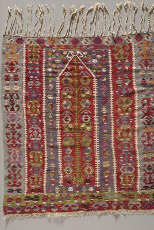 Prayer kilim, 1900s, Turkey, wool, slit tapestry, the Collection of the Jedel Family Foundation (the image was provided to the Turkish Cultural Foundation by Spencer Museum of Art, University of Kansas)