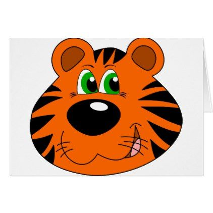Tiger Cartoon Face Card - diy cyo customize create your own #personalize