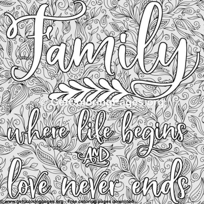 Family Where Life Begins Coloring Pages Family Coloring Pages Quote Coloring Pages Coloring Pages