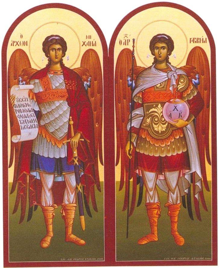Архангелы Михаил и Гавриил.  Храмовые иконы. Греция.
