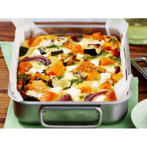 Roasted pumpkin spinach and feta slice recipe - By Woman's Day