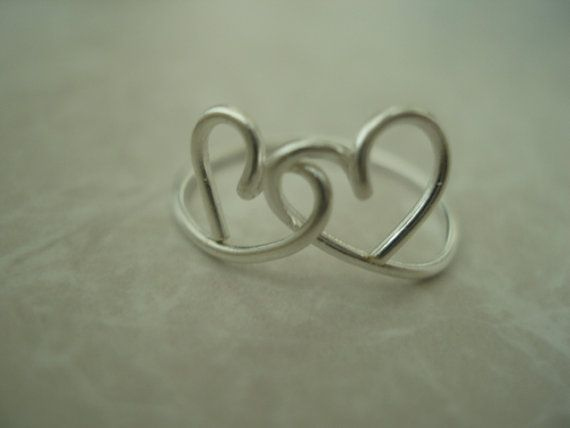Heart to Heart Sterling Silver Filled Wire Ring by shadowglitters, $28.00