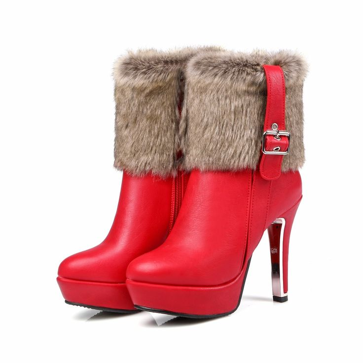 >> Click to Buy << Women Plush Thick Warm Round Toe Fashion Leather With Fur High Heels Boots Small Size Big Size Anti Wool Lady Snow Boots 1111 #Affiliate
