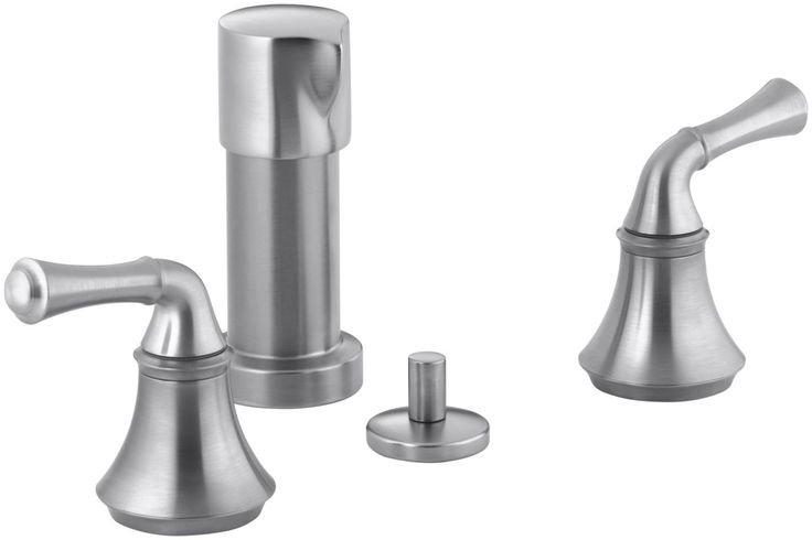 Kohler K-10279-4A Bidet Faucet with Traditional Lever Handles from the Forte Col Brushed Chrome Faucet Bidet Vertical Spray