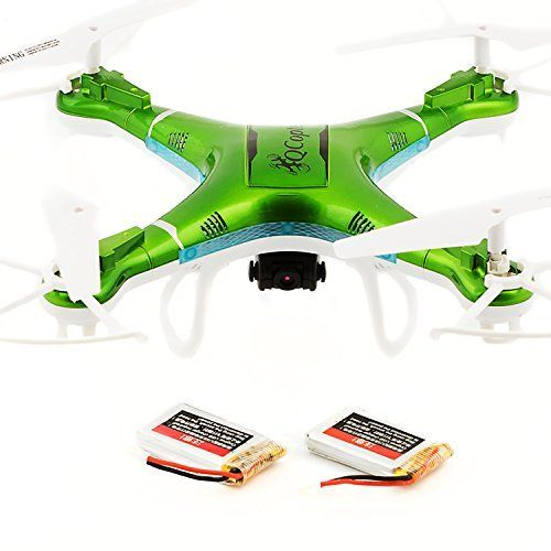 QCopter QC1 Drone Quadcopter with HD Camera LED Lights Green Drones BONUS BATTERY 2X FlightTime >>> Want to know more, click on the image.