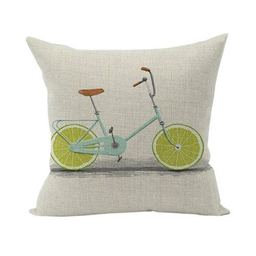 Bicycle Lime Cushion Cover Linen