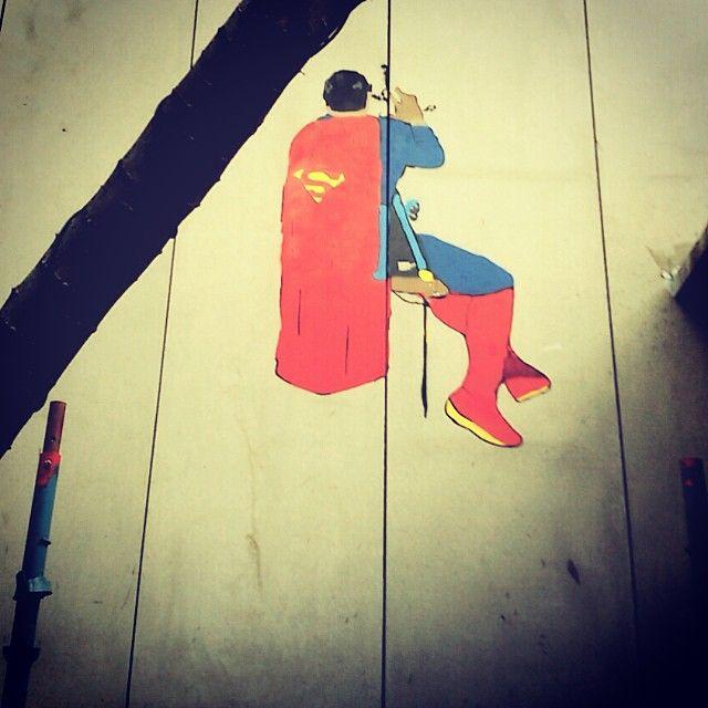"""Work in progress. Is that a bird is that a plane ? Nah it's just superman #stencil #stencilgraffiti #streetart #urbanart #graffiti #superhero #superman #hanging #cleaner #art #whatwedo #hoozinc"" Photo taken by @hoozinc on Instagram, pinned via the InstaPin iOS App! http://www.instapinapp.com (10/10/2015)"