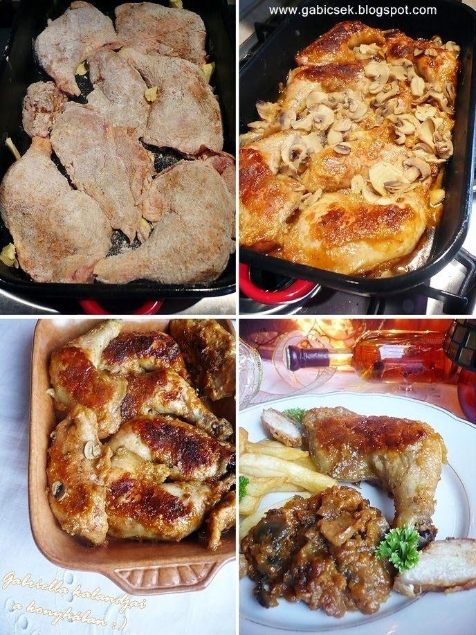 Gabriella kalandjai a konyhában :): Mézzel-tejjel sült csirke - gombamártással