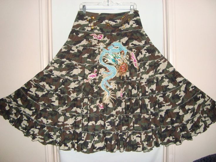 "Details: Amazing, tiered skirt with detailed embroidery, embellished with. B ack length : 34"". 