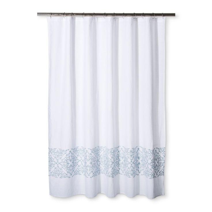 Woven Embroidery Shower Curtain Silver Blue Fieldcrest In 2020