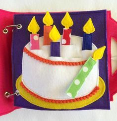 Birthday Cake Quiet Book Page. Practice fine motor skills and counting with this deliciously fun and colorful page! Your little one can put the candles in and out of the cake, pretend to blow out the candles, and practice counting and color recognition! You can customize colors! Quiet Books are a great way to keep your little ones occupied and learning during church, doctors appointments, traveling, or anywhere you need to keep your children quietly entertained! Unique and thoughtful gift…