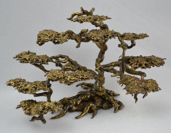 Vintage Brutalist Braised Brass or Bronze Japanese Bonsai Tree Modern Sculpture Modernist Eames Era Art Gift
