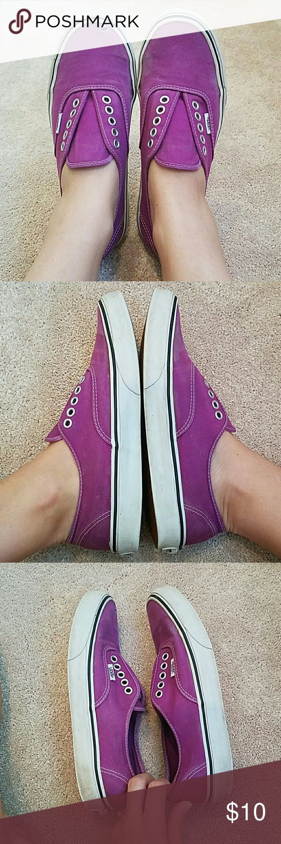 USED purple vans Still life in these purple vans. Hole on left toe and in left heel where my dog chewed on it. Great boat shoes or quick slip ons! I have the laces even though I wore them without laces.  Men size 7 Women size 8.5 Vans Shoes