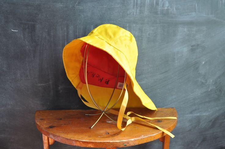 Vintage Sou'wester Fisherman's Hat Yellow Rain Hat Old Salty or Paddington Style. $15.00, via Etsy.