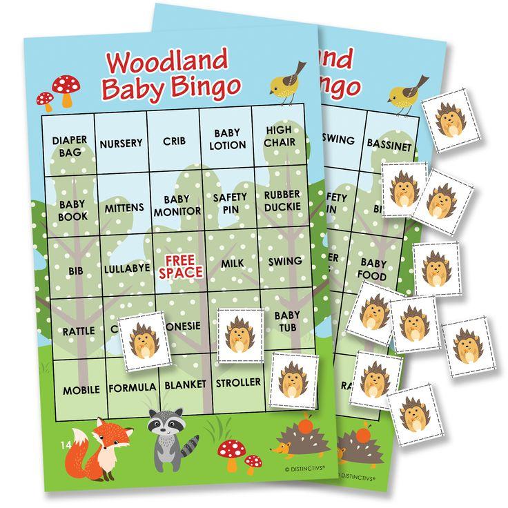 Woodland Animals Baby Shower Bingo Game - 24 Guests