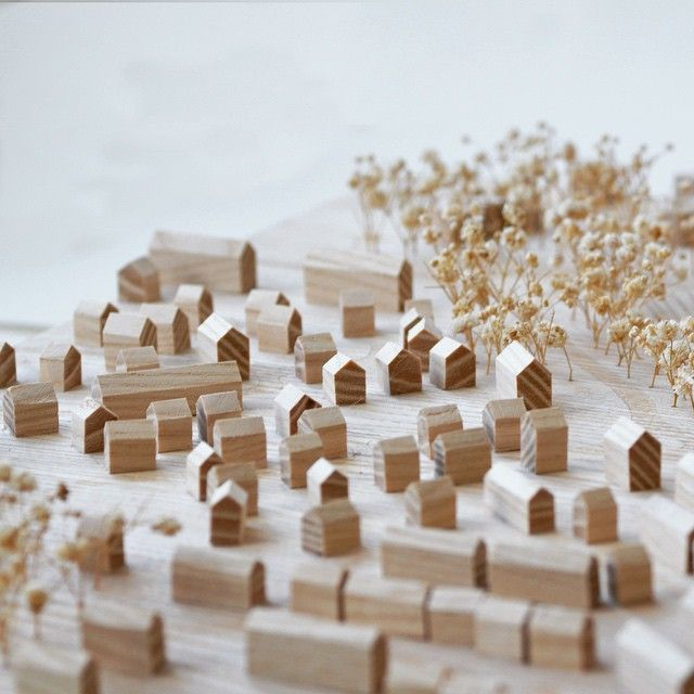 Instagram media by havelockstudio - A solid wood site model that I made last year for architects KSS Design Group. The base and existing buildings are made from ash, the proposed from walnut and the trees are represented with dried gypsophila flowers.