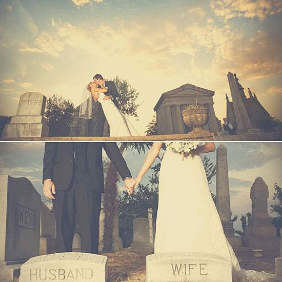 Halloween wedding ideas: Who needs a church for a wedding ceremony when you could use a graveyard?