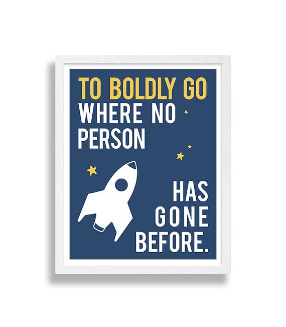 Star Trek print for a kids room. Love it! Definitely putting this up in the kids room some day. #To boldly go!