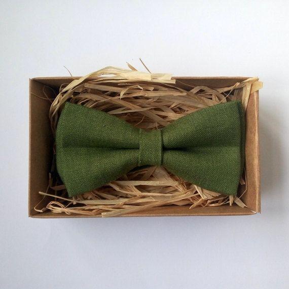 Olive green bow tie / Wedding Groomsmen / 100% by ArtOfLithuania