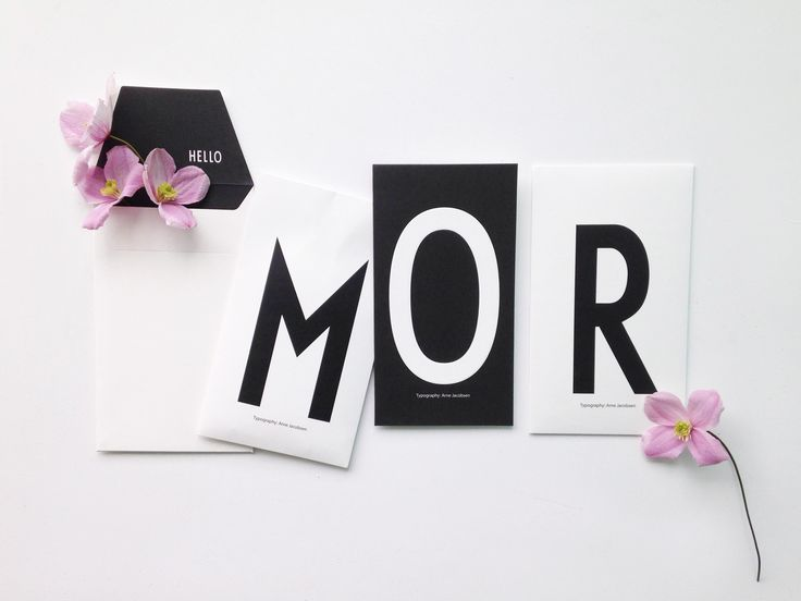 M and Flowers for mor or mom. Personal greeting card with AJ Vintage ABC typography.