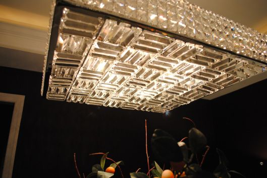 Crystal Square Chandelier; Karen Viscito Interiors