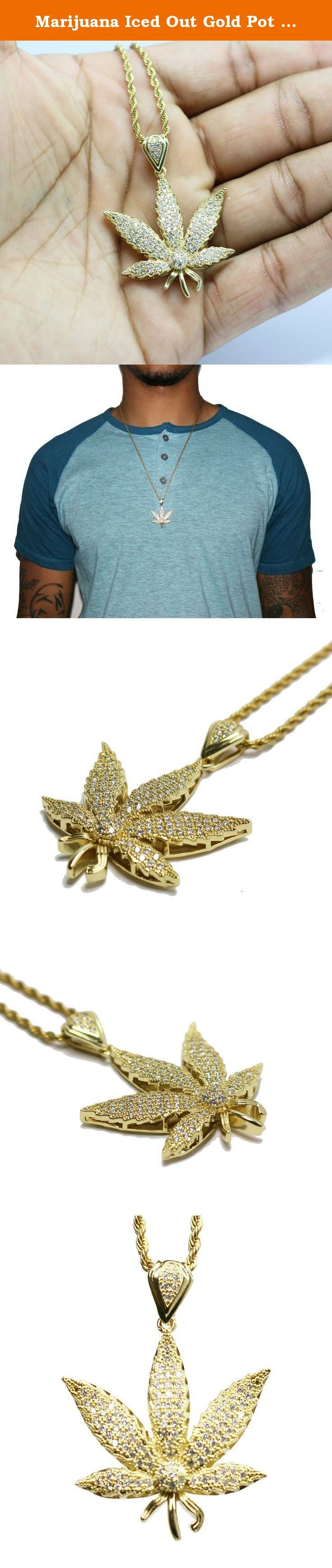 Marijuana Iced Out Gold Pot Weed Leaf Pendant 420 Charm 24 in Rope Chain Hip Hop Necklace. 14k Gold Plated Iced Out Cannabis Leaf Pendant And 24 Inch Rope Chain Pendant is 14k gold plating over Brass. White cz stones. Pendant size is 35mm Comes with a 2mm 24 inch 14k gold plated Stainless steel rope chain.