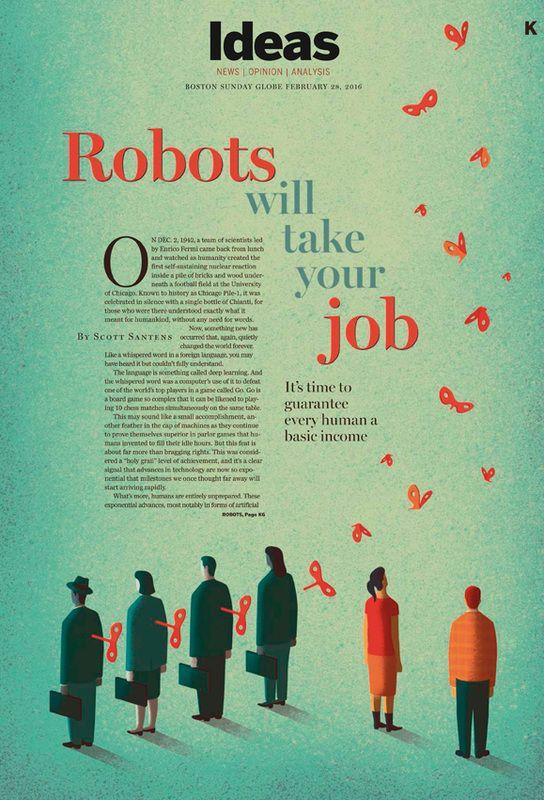 Davide Bonazzi - Robots will take your job. Client: The Boston Globe. #conceptual #illustration #editorial