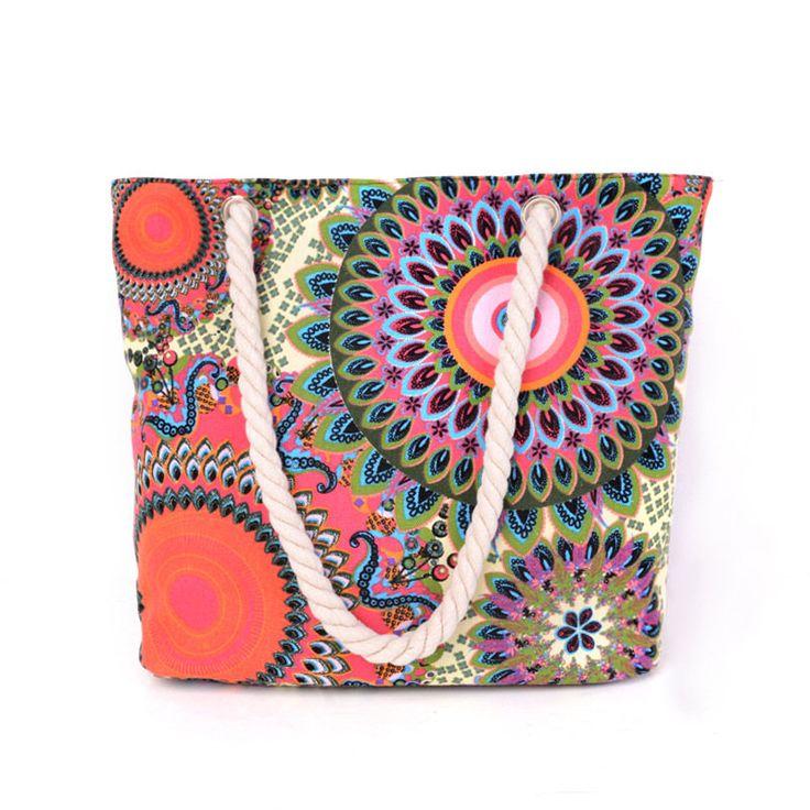 New Women Bag Vintage Canvas Handbags Casual Floral Printing Women Bag Big Shoulder Beach Bag 2017 by Argyrostore on Etsy