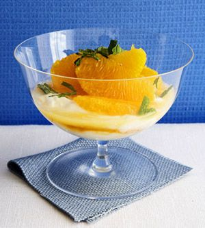 Fresh mint adds a burst of flavor to this yogurt and fruit recipe.  It'a great as a snack, but it also makes a light dessert.