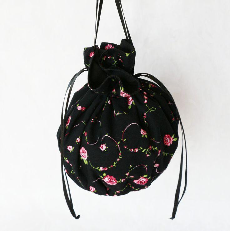 Black rose floral pattern pompadour purse evening handbag wristlet drawstring reticule by AlicesLittleRabbit on Etsy