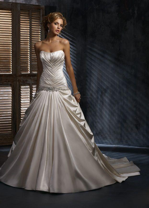 свадебные платья атласные фото