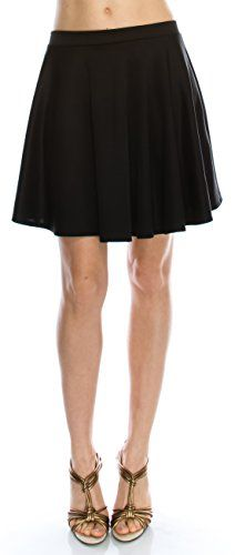 Angel Cola Womens Basic Versatile Stretchy Flared Skater Skirt Black Medium   Special Offer: $8.99      366 Reviews Angel Cola Womens Basic Versatile Stretchy Flared Skater Skirt Made in USAModel is 5'7″ weight 101 lbs and her measurement is 32″-23″-33″ wearing...