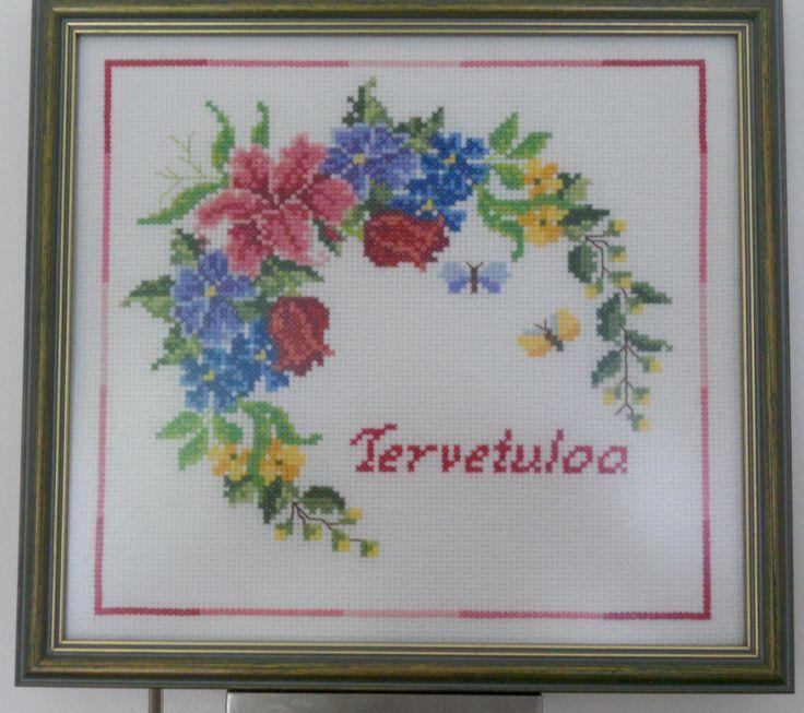 Ristipistotyö - Tervetuloa.  Cross stitch - Welcome