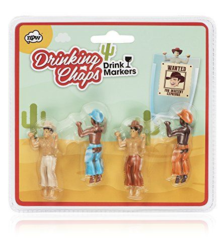 NPW-USA Drinking Buddies Cowboy Chaps Cocktail/Wine Drink Markers (Set of 4): Everyone needs a drinking buddy, especially one who looks…