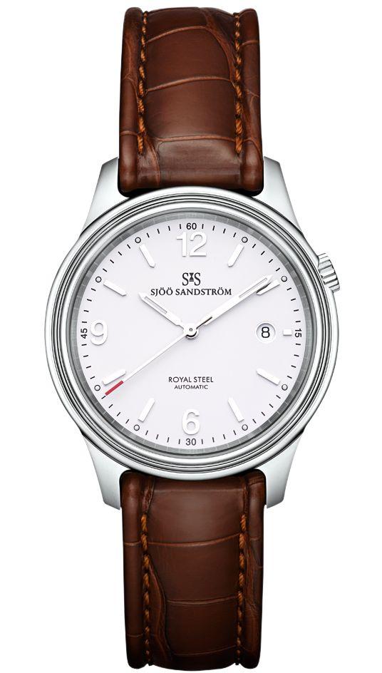 Royal Steel Classic 41 mm, white dial with brown alligator. #sjöösandström #sjoosandstrom #watch #watches #sweden #classic