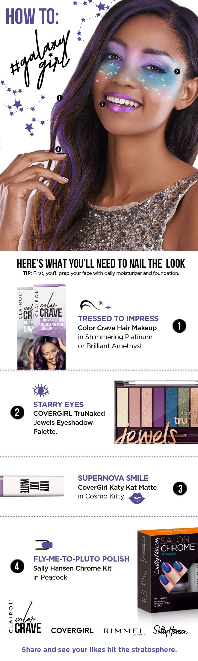 Make Halloween out of this world with this DIY Galaxy Girl look: Apply Clairol Color Crave Hair Makeup in Amethyst or Platinum. Right now Color Crave is buy one, get one 25% off at Target. Create starry eyes with the COVERGIRL TruNaked Jewels Eyeshadow Palette. Blend Amethyst, Sapphire & Green Amber moving outward. Add Pearl at inner corners of eyes and cheekbones.    Add a supernova smile with COVERGIRL Katy Kat Matte in Cosmo Kitty.    Finish with Sally Hansen Chrome Kit in Peacock.