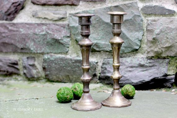 Pair Large Brass Candleholders. Vintage. Rustic Old World