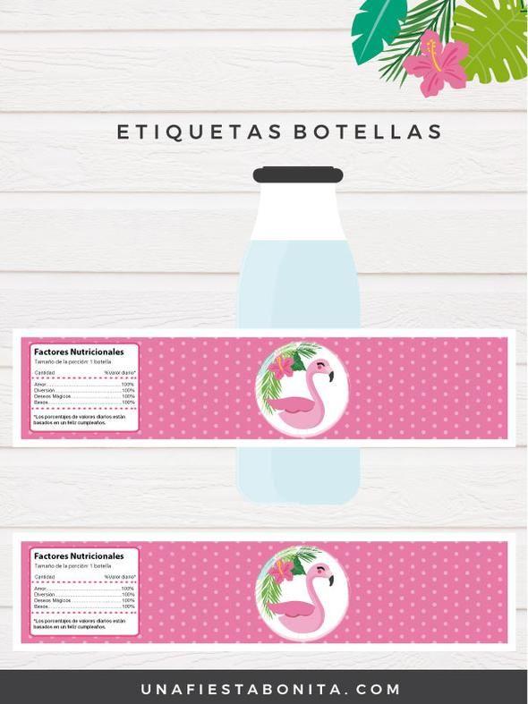 Etiquetas Para Botellas Temática Tropical Flamenco Etiquetas Para Botellas Etiquetas Para Imprimir Botellas